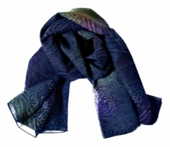 Printed Polyester Scarf Blue Texture
