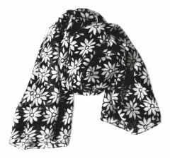 Printed Polyester Scarf Black Flower Pattern