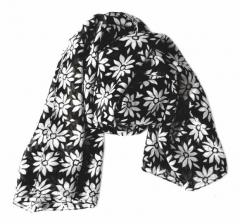 Bedrucktes Polyestertuch Schwarz Blumen Muster