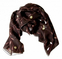 Printed Polyester Scarf Brown Flower Pattern