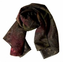 Printed Polyester Scarf Brown Texture