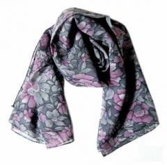 Printed Polyester Scarf Flower Pattern