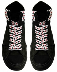Shoe Laces - Black Skulls Red Stars