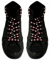 Schnürsenkel - Weiße Totenköpfe Rote Sterne