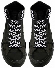 Shoe Laces - Chess Pattern (White)