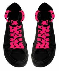 Shoe Laces - Card Symbols (Neon Pink)