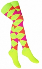 Over Knee Thigh Socks Multicolour Squares