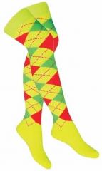 Over Knee Strümpfe Gelb Mehrfarbige Karos