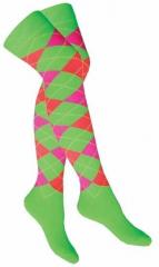 Over Knee Strümpfe grün mit mehrfarbigen Karos