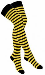 Over Knee Strümpfe Schwarz Gelb Gestreift