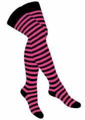 Over Knee Strümpfe Schwarz Pink Gestreift