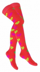 Over Knee Strümpfe Dunkelorange Mehrfarbige Herzen