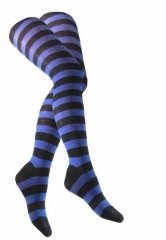 Over Knee Socken Schwarz Blau Geringelt