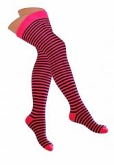 Over Knee Thigh Socks Neonpink & Black Pinstripes