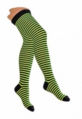 Over Knee Thigh Socks Neonyellow & Black Pinstripes