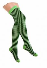 Over Knee Strümpfe Neongrün & Schwarz Nadelstreifen