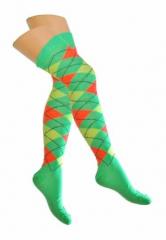 Over Knee Thigh Socks Neongreen, Orange & Yellow Squared
