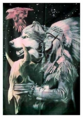 Poster Flag - Red Indian, Wolf & Eagle